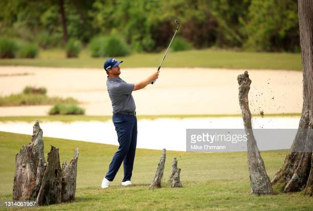 Brice Garnett plays a shot on the 13th hole during the second round of the Zurich Classic of New Orleans at TPC Louisiana on April 23, 2021 in New...