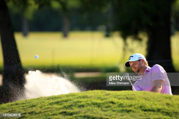 Brice Garnett plays a shot out of the bunker during the first round of the Zurich Classic of New Orleans at TPC Louisiana on April 22, 2021 in New...