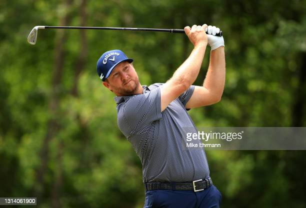 Brice Garnett plays his shot from the 14th tee during the second round of the Zurich Classic of New Orleans at TPC Louisiana on April 23, 2021 in New...