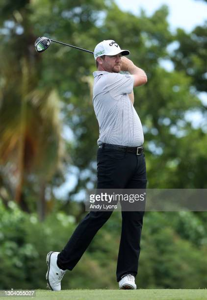 Brice Garnett plays his shot from the 18th tee during the first round of the Puerto Rico Open at Grand Reserve Country Club on February 25, 2021 in...
