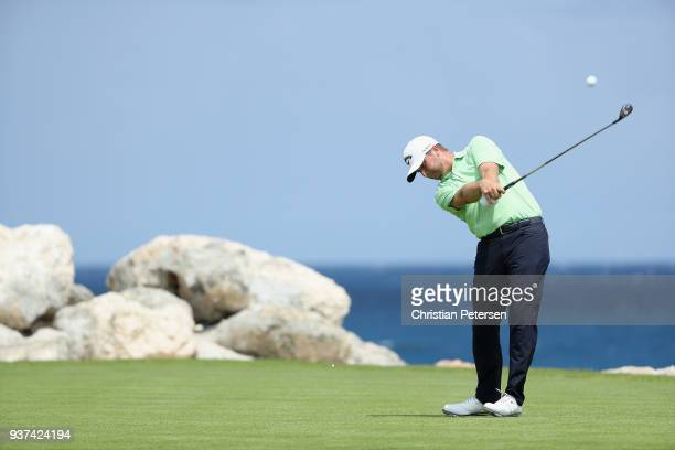 Brice Garnett plays his shot from the eighth tee during round three of the Corales Puntacana Resort & Club Championship on March 24, 2018 in Punta...