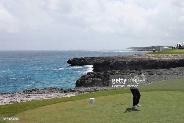 Brice Garnett plays his shot from the ninth tee during round three of the Corales Puntacana Resort & Club Championship on March 24, 2018 in Punta...