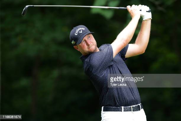 Brice Garnett plays his shot from the second tee during the final round of the Wyndham Championship at Sedgefield Country Club on August 04, 2019 in...