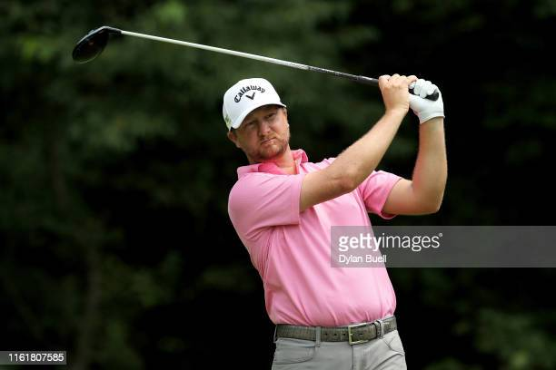 Brice Garnett plays his shot from the second tee during the third round of the John Deere Classic at TPC Deere Run on July 13, 2019 in Silvis,...