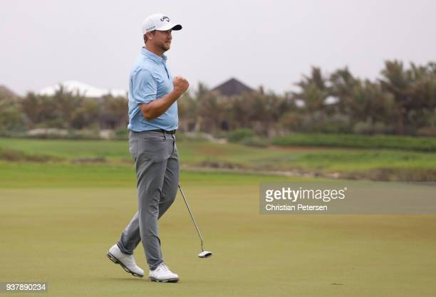 Brice Garnett reacts to his putt on the 18th green to win during the final round of the Corales Puntacana Resort & Club Championship on March 25,...