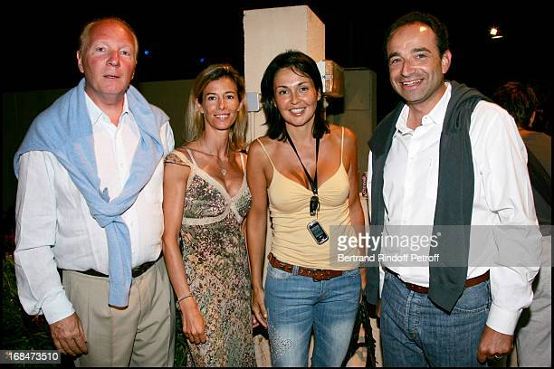 Brice Hortefeux and his wife and Jean Francois Cope and his wife Valerie Laurent Gerra ends his summer tour at the Ramatuelle festival in 2006