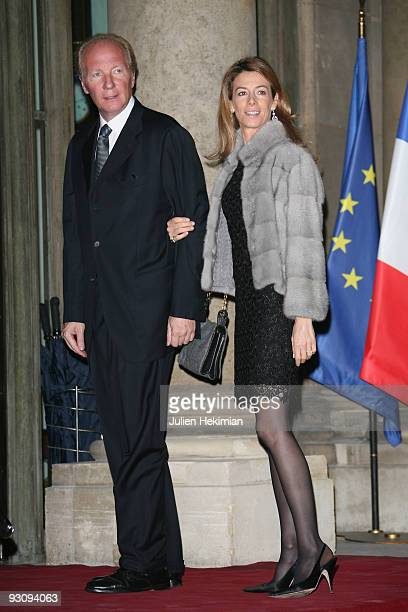 Brice Hortefeux and his wife attend the dinner honoring Iraq President Jalil Talabani at Elysee Palace on November 16 2009 in Paris France