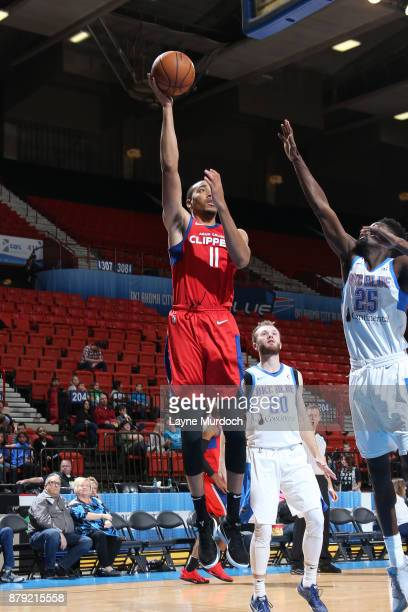 Brice Johnson of the Agua Caliente Clippers shoots the ball during an NBA GLeague game against the Oklahoma City Blue on November 25 2017 at the Cox...