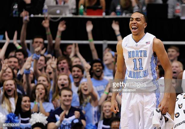 Brice Johnson of the North Carolina Tar Heels celebrates during the final seconds of a win over the Clemson Tigers at the Dean Smith Center on...