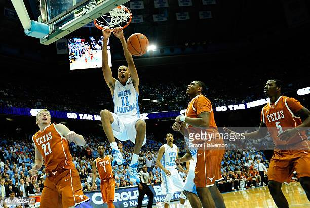 Brice Johnson of the North Carolina Tar Heels dunks against the Texas Longhorns during their game at the Dean Smith Center on December 18, 2013 in...