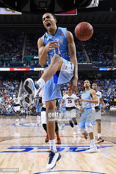 Brice Johnson of the North Carolina Tar Heels reacts after dunking against the Louisville Cardinals during the quarterfinals of the ACC Basketball...