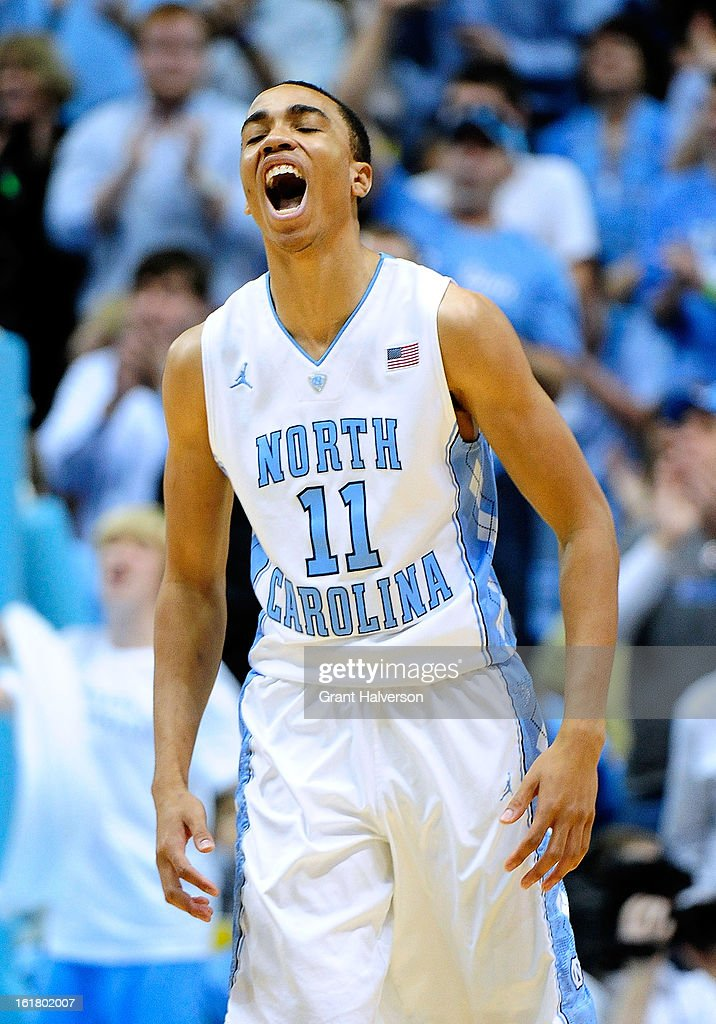 Brice Johnson #11 of the North Carolina Tar Heels reacts during a win over the Virginia Cavaliers at the Dean Smith Center on February 16, 2013 in Chapel Hill, North Carolina. North Carolina won 93-81.