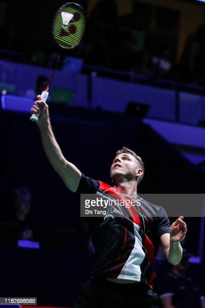 Brice Leverdez of France competes in the Men's Singles first round match against Lin Dan of China on day one of the French Open at Stade Pierre de...