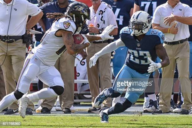Brice McCain of the Tennessee Titans plays against the Baltimore Ravens at Nissan Stadium on November 5 2017 in Nashville Tennessee