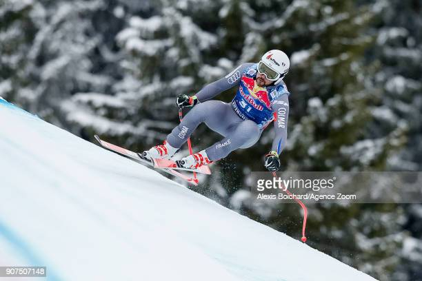 Brice Roger of France competes during the Audi FIS Alpine Ski World Cup Men's Downhill on January 20 2018 in Kitzbuehel Austria
