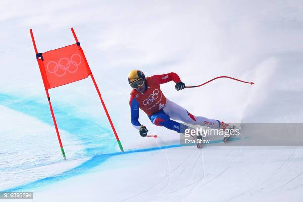 Brice Roger of France makes a run during the Men's Downhill 3rd Training on day one of the PyeongChang 2018 Winter Olympic Games at Jeongseon Alpine...