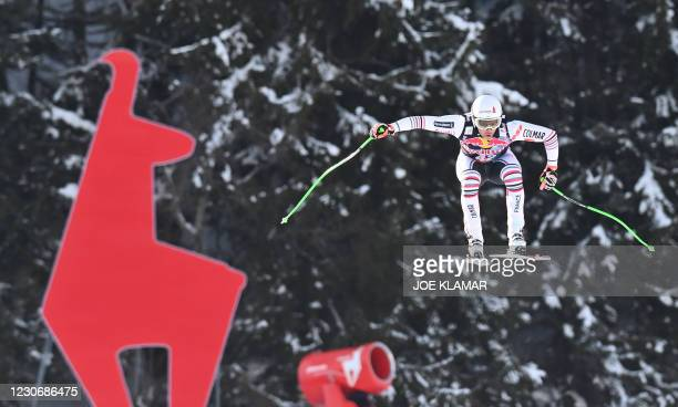 Brice Roger of France races during a downhill training session of the FIS Men's Alpine Ski World Cup in Kitzbuehel, Austria, on January 20, 2021.