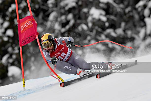 Brice Roger of France takes 3rd place during the Audi FIS Alpine Ski World Cup Men's Super G on March 11, 2018 in Kvitfjell, Norway.