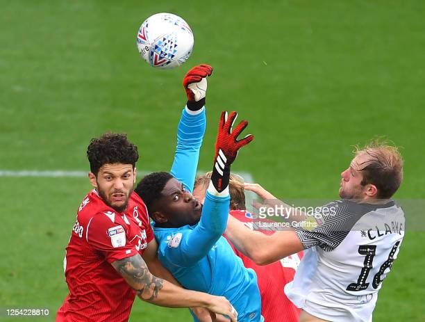 Brice Samba of Nottingham Forest fails to claim the ball leading to Chris Martin of Derby County scoring his sides first goal during the Sky Bet...