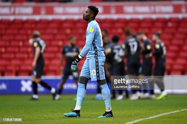 Brice Samba of Nottingham Forest looks dejected after conceding a goal from Henrik Dalsgaard of Brentford during the Sky Bet Championship match...