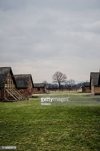 brick barracks buildings at the auschwitz ii - auschwitz stock pictures, royalty-free photos & images