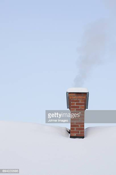 Brick chimney at winter