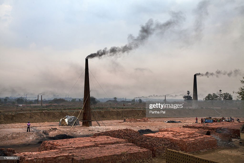 Brick factory & Air Pollution,late evening : Stock-Foto