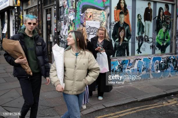 Brick Lane street scene on market day on 2nd February 2020 in London, England, United Kingdom. Brick Lane Market is a London Sunday market centred on...