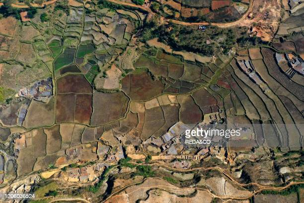 Brick making on the rice fields on the National Route RN7 between Antsirabe and Antananarivo, Ambatotapaka, Madagascar.