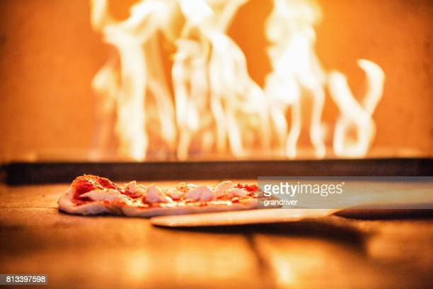 brick oven pizza - pizza oven stock photos and pictures