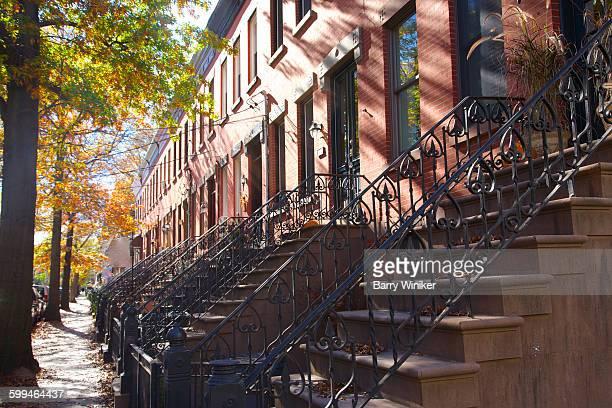 Brick townhouses & iron railings, Hoboken