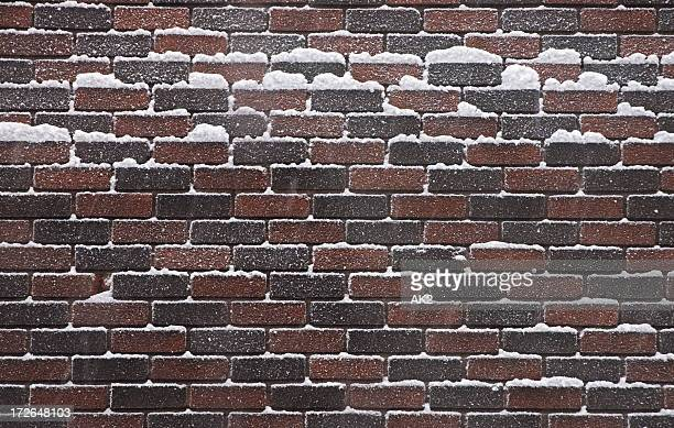 Brick wall covered with snow
