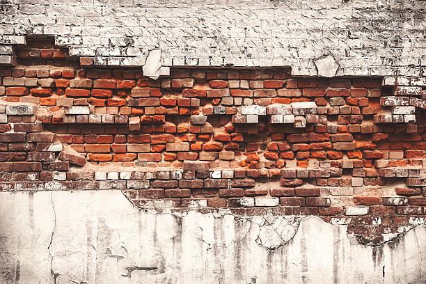 Brick wall falling apart