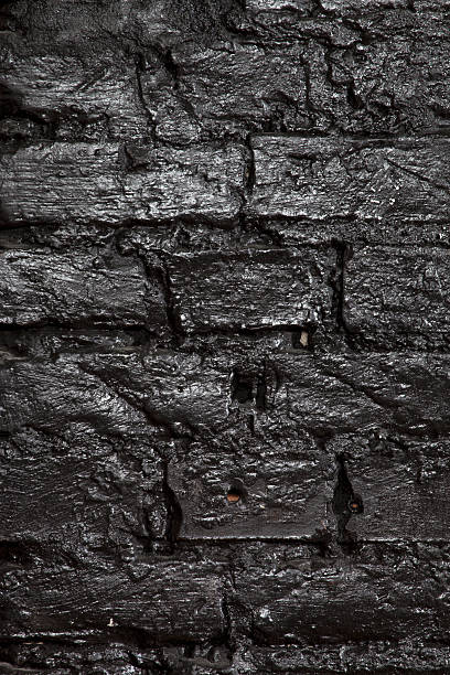 A Brick Wall Painted Black, Full Frame Wall Art