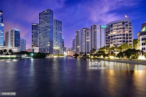brickell downtown at dusk, miami - downtown miami stock pictures, royalty-free photos & images
