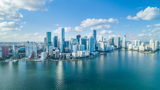 Brickell Key, Cityscape by air in Miami. 1130404277