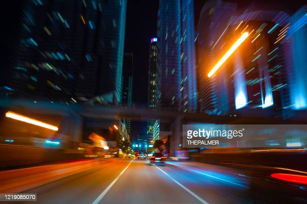 brickell the lights of the city - avenue stock pictures, royalty-free photos & images