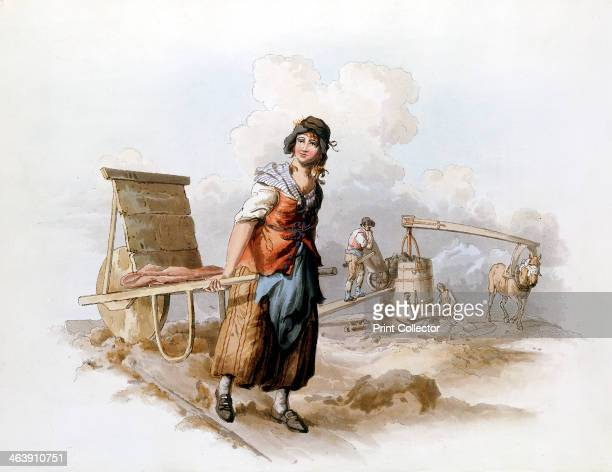Brickfield 1808 A horsepowered pug mill grinding clay and a woman with a hack barrow for transporting green bricks to clamps to be dried out before...