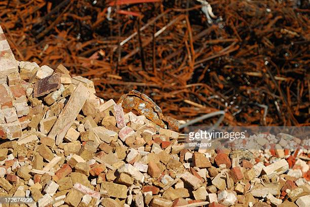bricks and twisted steel - rubble stock photos and pictures