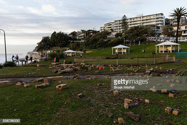 Bricks strewn around the Bronte foreshore on June 6 2016 in Sydney Australia Torrential rain over the weekend saw streets and homes flooded while...