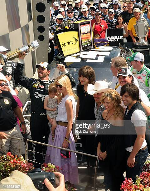 Brickyard 400 winner Jimmie Johnson Daughter Genevieve Marie Johnson Wife Chandra Johnson The Band Perry's Reid Perry Singer/Songwriter Justin Moore...