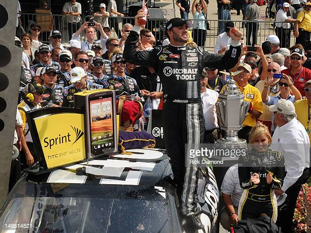 Brickyard 400 winner Jimmie Johnson in Winners Circle at the Brickyard 400 presented by BigMachineRecordscom at Indianapolis Motorspeedway on July 29...
