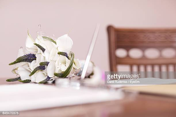 Bridal Bouquet Kept On Table