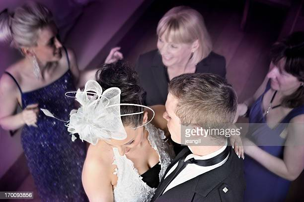 bridal couple dancing - fascinator stock pictures, royalty-free photos & images