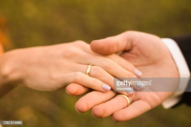 bridal couple holding hands, showing wedding rings - wedding ring stock pictures, royalty-free photos & images