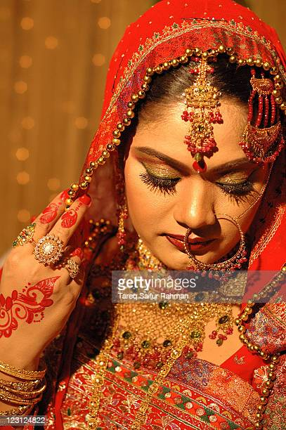 bridal moment - bangladeshi bride stock photos and pictures