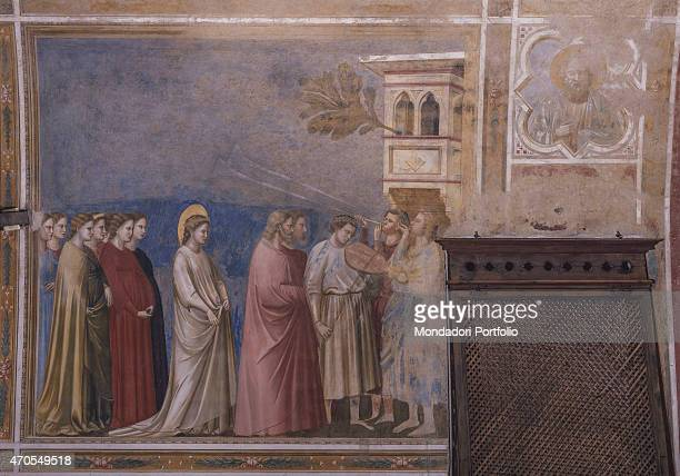 'Bridal Procession of Mary by Giotto 13031305 14th Century fresco Italy Veneto Padua Scrovegni Chapel After restoration picture Whole artwork view...