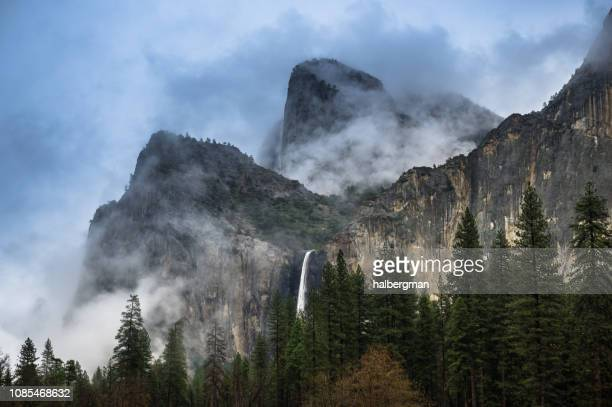 Bridalveil Fall and Cathedral Rocks, Yosemite National Park on Foggy Day