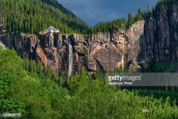 bridalveil falls telluride summer landscape - canyon stock pictures, royalty-free photos & images