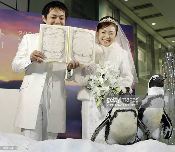 Bride Aki Shibayama and her groom Takuya show their marriage certificate before a crowd of people and cape penguins from Hokkaido's zoo at Tokyo's...